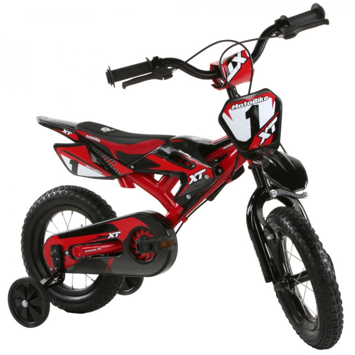 kinderfahrrad motobike 12 zoll bmx fahrrad rot 4 5 6 7. Black Bedroom Furniture Sets. Home Design Ideas