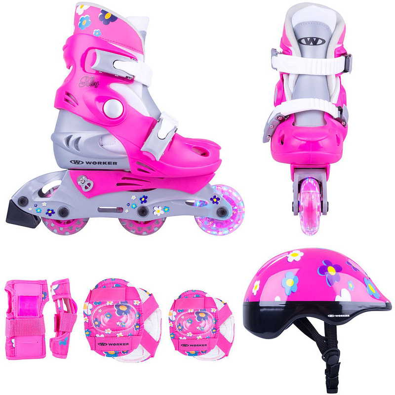 inlineskates kinder polly led helm schoner rosa. Black Bedroom Furniture Sets. Home Design Ideas